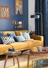 canapé déco deco bleu et jaune salon scandinave canapé jaune moutarde