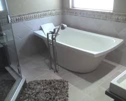 Bathroom Laminate Tile Flooring Endearing Drain Center Freestanding Bathtub In The Corner With