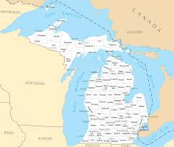 Map Of Lower Michigan by Michigan County Map Map Of The World