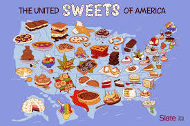 Is There A Six Flags In Pennsylvania United Sweets Of America Map A Dessert For Every State In The
