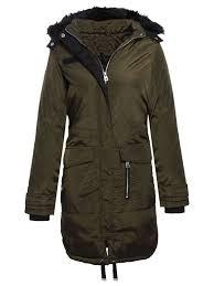 brave soul womens la s fur hooded fishtail parka longline jacket