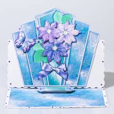 blue art deco flowers female handmade female birthday card