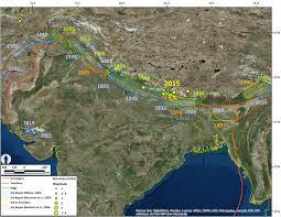 Himalayan Mountains Map Updated Historic Seismicity Nepal Himalayas 3 Data Sets Jay