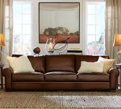 Leather Brown Sofas Turner Roll Arm Leather Sofa Pottery Barn