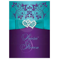 purple and blue wedding wedding invitation purple aqua white floral printed ribbon