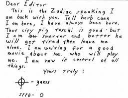 zodiac killer the letters sfgate