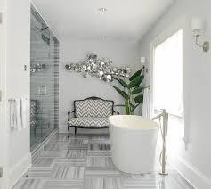 Modern Gray Tile Bathroom Gray Bathroom With Gray Chevron Settee Contemporary