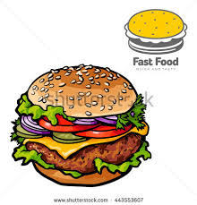two illustrations burger logo realistic sketch stock vector