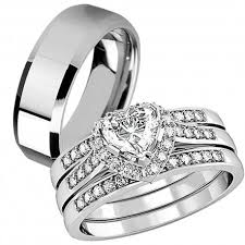 wedding rings sets his and hers for cheap his hers 4 pcs tungsten matching band women heart cut sterling