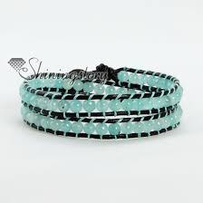 double wrap bracelet images Jade bead beaded double wrap leather bracelets wholesale jpg