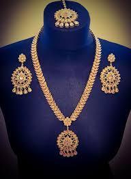 bridal set necklace earring images Long gold plated gold crystal necklace earrings tikka set online png