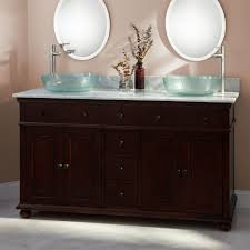 portable cherry wood bathroom vanity with glass door cabinet