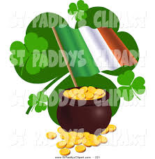 vector clip art of an irish flag with saint patricks day clovers