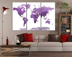 Framed World Map by Large Wall Art Canvas Purple World Map With White Background 3