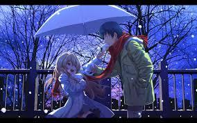 winter anime wallpaper hd wallpaper anime snow winter purple blue friendship toradora