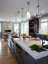 interior appealing pendant lighting with white granite countertop appealing pendant lighting with white granite countertop and dark wooden flooring plus glass window and wood shelves for mid century modern kitchen design