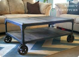 Caster Coffee Table Industrial Wood And Metal Coffee Table With Casters World Market