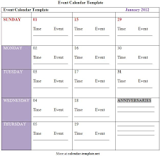 event calendar template calendar template