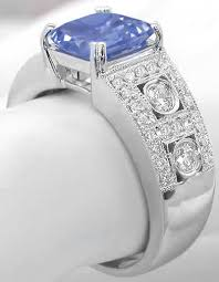 vintage bands rings images Cushion cut blue sapphire wide band ring with milgrain beaded jpg