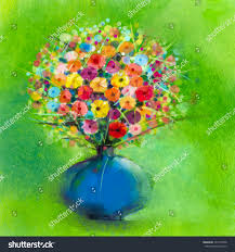 abstract art watercolor painting spring flower stock illustration