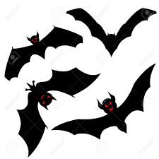 Halloween Bat Silhouette Set Of Halloween Black Bat With Red Eyes Vector Illustration