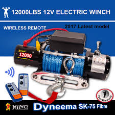 12v electric winch 12000lbs 5443kgs wireless synthetic 4wd
