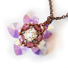 swarovski crystal flower necklace images Water lily flower necklace with lilac swarovski crystal beads shop jpg