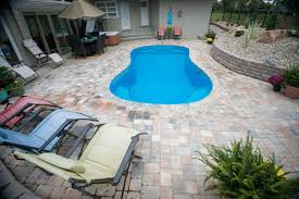 decor small inground pool with deck and white fence for outdoor