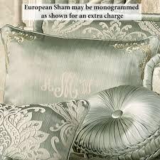 Monogrammed Comforter Sets Villa Verde Celadon Puff Jacquard Damask Comforter Bedding