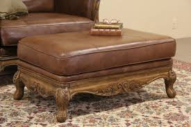Bernhardt Ottoman Sold Bernhardt Country Leather Carved Fruitwood Vintage