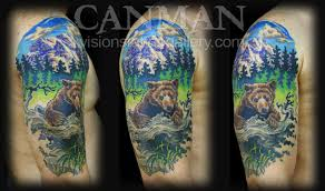 Off The Map Tattoo Paradise Artist Retreat Tattoos Canman Bear And Mountain Scene