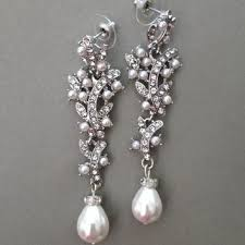 Bridal Chandelier Earrings Shop Chandelier Rhinestone And Pearl Earrings On Wanelo
