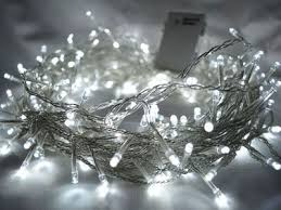 white 200 led lights 20m clear cable battery operated
