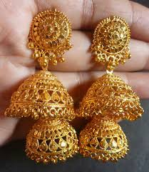 jhumka earrings gold indian 22k gold plated wedding party fashion 2 steps jhumka