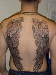 grey ink angel wings tattoos on man back http tattooswall com