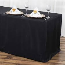 banquet table linens wholesale 6ft fitted polyester table cover banquet tablecloth black efavormart