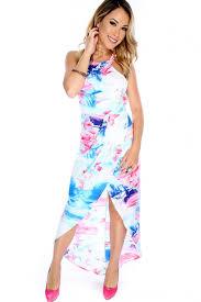 light blue sleeveless dress light blue pink floral watercolor sleeveless dress
