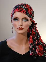 simple hair bandana for covering patch of bald head for ladies pre tied jessica scarf spanish rose a cancer chemo