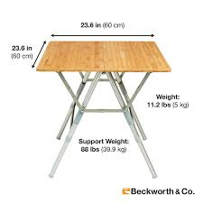 Collapsible Picnic Table Bamboo Portable Folding Picnic Table With Adjustable Height Square