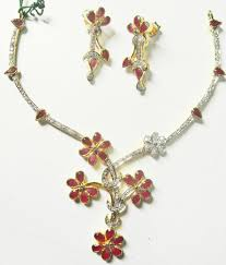 ruby diamonds necklace images Stunning ruby diamond necklace with matching earrings gleam jewels JPG
