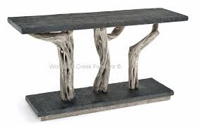 lodge sofa table cabin furniture rustic driftwood gray