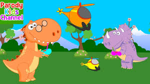 dino family play the helicopter destroyed funny dinosaurs for kids