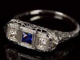c1930 art deco sapphire u0026 diamonds on 18ct white gold ring