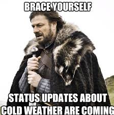 Cold Weather Meme - brace yourself status updates about cold weather are coming