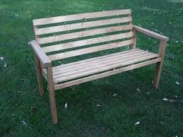Simple Outdoor Bench Seat Plans by Interesting Diy Patio Bench Made Of Wooden Material Also Comfort