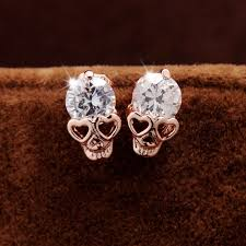 badass earrings heart shaped skull earrings sugar skulls skull