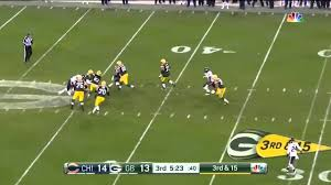 aaron rodgers says ahh after a bad snap in bears on nbc