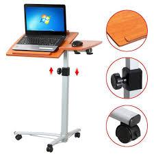 adjustable angle u0026height rolling mobile laptop desk cart bed