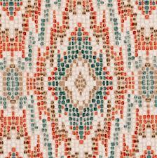 Turquoise Velvet Fabric Upholstery Modern Ikat Velvet Upholstery Fabric Orange Teal Velvet
