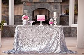 silver sequin table runner amazon com shinybeauty silver sequin tablecloth 132 inch round